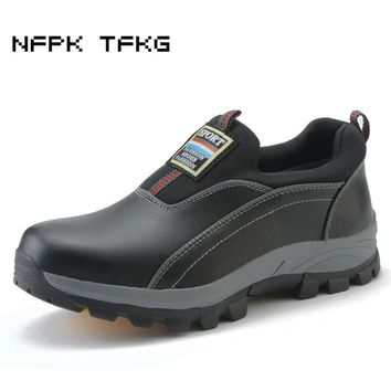 big size men's black fashion breathable steel toe caps work safety shoes slip-on genuine leather site tooling low security boots