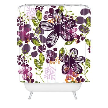 Natalie Baca Floral In Plum Shower Curtain