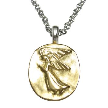 Gold Toned Oval Guardian Angel Pendant Necklace