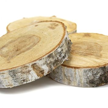 6 Birch Tree Wood Slab Centerpiece [6 Wood Birch Tree Slice] : Wholesale Wedding Supplies, Discount Wedding Favors, Party Favors, and Bulk Event Supplies