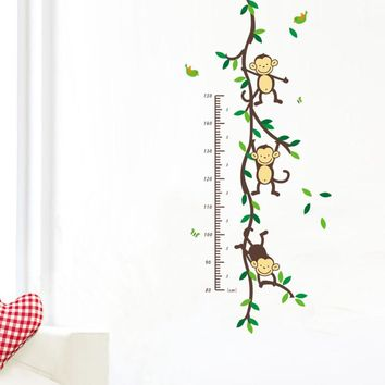 Monkey Height Wall Art Stickers Nursery 1208 Removable Decor Kids Height Chart Measure Free Shipping