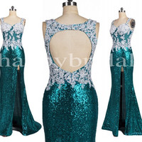 Long Ice Blue Sequined Prom Dresses Sexy Open Back Party Dresses Unique Appliques Evening Dresses Bridesmaid Dresses 2014 Wedding Occasions