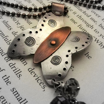 Butterfly Metalwork Necklace with Mixed by FiredUpLadiesHammer