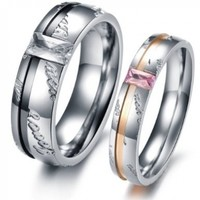 """Love You"" Carved Couple Ring Black & Rose Gold Plated Stainless Stell Wedding Bands 327M10"