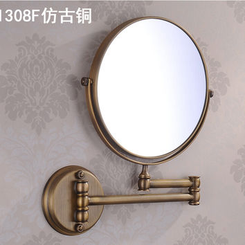 """8"""" Double Side Bathroom Folding dressing Mirror Wall Mounted Extend with Dual Arm 1x3x Magnifying make up mirror"""