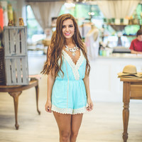 Bohemian Lace Romper in Mint