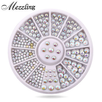 Mix Sizes Semi-circle Flatback Glitter Nail Rhinestone Studs Wheel Set Hot DIY Nail Sticker Decoration Styling Tools