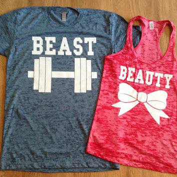 Free/Fast Shipping for US Beauty And The Beast Burn Out Tee and Tan.Slate Blue and Red(White  Decal)
