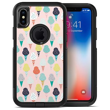 The All Over Pink Ice Cream Cone Pattern - iPhone X OtterBox Case & Skin Kits