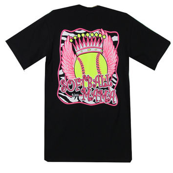 Bjaxx Softball Mama Mom Zebra Crown Wings Sports Girlie Bright T Shirt
