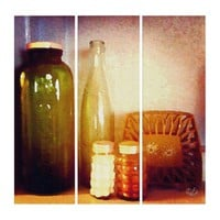 Retro Bistro Table Still Life with Old Bottles Triptych