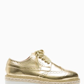 Gold Faux Leather Lace Up Flatform Oxford Sneakers @ Cicihot Women Sneakers-Fashion Sneakers,Casual Sneakers,Wedge Sneakers,Platform Sneakers,Hidden Wedge Sneakers,High Top Sneakers,Lace Up Sneakers,Studded Sneakers,Buckle Sneakers