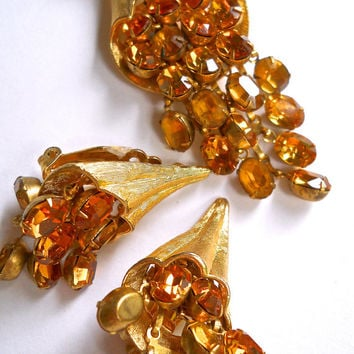Gold Tone Mesh Necklace-Earrings Set, Topaz Rhinestones, Vintage
