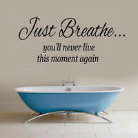 Yoga Wall Decals Quote Just Breathe Vinyl Decal Sticker Art Bathroom Decor KG734