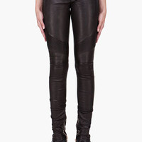 BALMAIN // BLACK LEATHER BIKER LEGGINGS