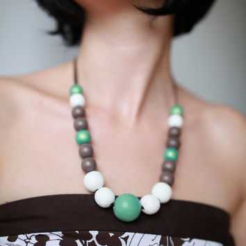 Mint white brown extra large necklace, chunky wooden beads, pastel ombre necklace, wood hand painted pastel necklace