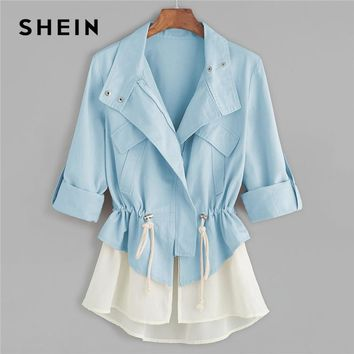 SHEIN Blue Roll Sleeve Drawstring Jacket With Contrast Trim Elegant Cotton Colorblock Zipper Coat Women Autumn Outerwear Coats