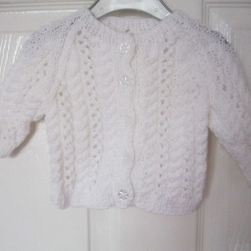 WHITE Hand Knitted Cardigan for 0 - 6 months (kids baby present girls new born