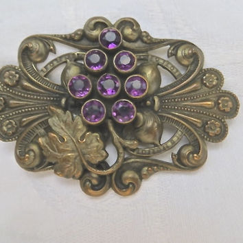 Art Nouveau Brooch Amethyst Antique Sash Pin Grapes and Leaves