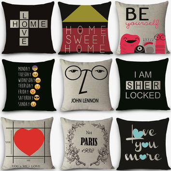 decorative throw pillow customized words Print Cushion Vintage Cotton Linen Square pillows