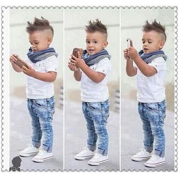 Boys Euro 3 PC  Set with Scarf Pant and Shirt