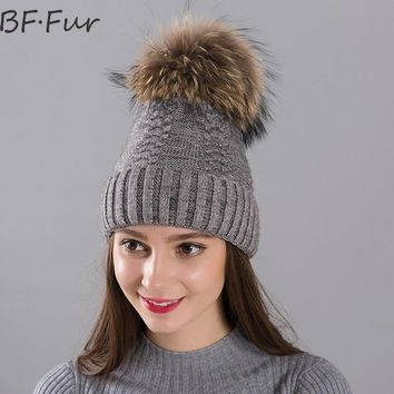 BFFUR Winter Warm Beanies Hats Women Real Raccoon Fur Ball Solid Knitted Wool Caps For Girls Animal Pompom Bonnet Femme Fashion