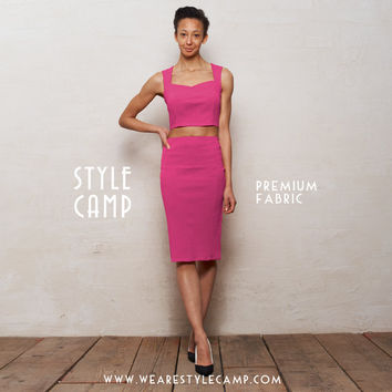 PREMIUM FABRIC Kirsten Two Piece Bralet and Pencil Skirt Set in Fuchsia Pink