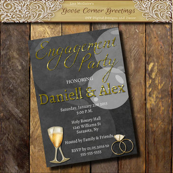 Gold Foil Style Engagement Party Invitation,Engagement Ring Engagement Party invite,Diamond Ring, Chalkboard invitations, Couples Shower