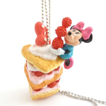 Minnie Mouse disney Necklace with sweet cupcake charm for girls birthday party favors.
