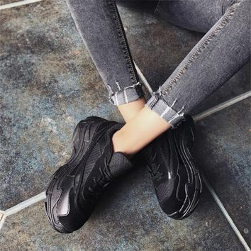 COOTELILI Spring Women Sneakers Platform Shoes Woman Casual Pumps Ladies Lace up Mesh Creepers Zapatos Mujer Increased Internal