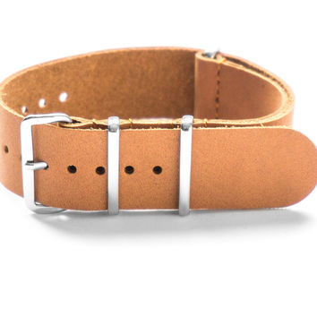 LEATHER NATO STRAP DARK SAND