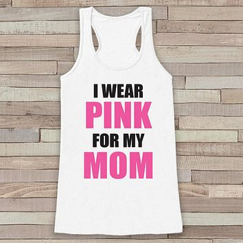 Women's I Wear Pink Tank - Breast Cancer Awareness Tank - White Tank Top - White Racerback Tank - Running Race Team Top - Fight Cancer Shirt