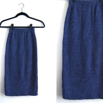 1990s Blue Sweater Stretchy Pencil Skirt