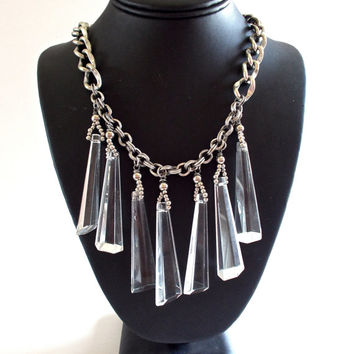 Art Deco French Glass Necklace, Long Dangles, Silver Tone...Vintage