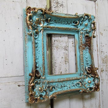 Ornate thick wooden frame robins egg blue gold large painted wood wall hanging Shabby French distressed home decor anita spero design