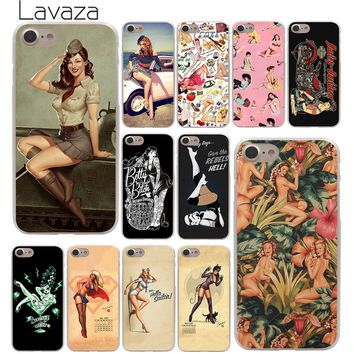 Lavaza PinUp Girls Pin Up Girl Hard Phone Cover Case for Apple iPhone 10 X 8 7 6 6s Plus 5 5S SE 5C 4 4S Coque Shell