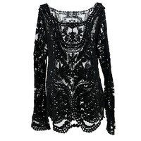 FINEJO Semi Sheer Sleeve Embroidery Floral Lace Crochet Tops Vintage