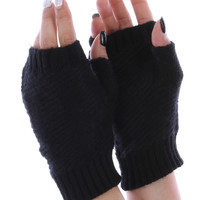 Black Knitted Fingerless Hand Warmers