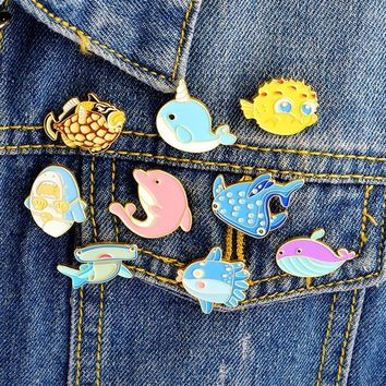 Trendy New hot brooches lovely Fish Seahorse Dolphin animal collection alloy enamel denim jacket collar pin jewelry bag hat accessories AT_94_13
