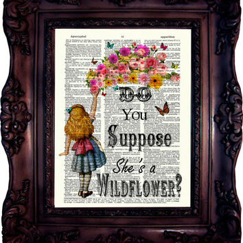 Alice in Wonderland Decoration. Alice in wonderland Quote Art Print. Dictionary art print. Print on book page. Wonderland Art. Code:612