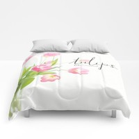 Pink tulips Comforters by Sylvia Cook Photography