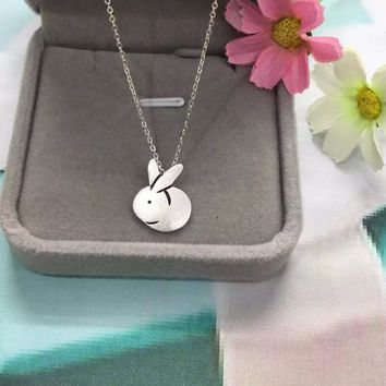Cute little rabbit 925 sterling silver pendant, a perfect gift
