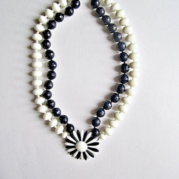 Navy Blue Agate and Vintage White Acrylic Bead Necklace with flower