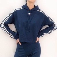 adidas Originals Adicolor 3 Stripes Cropped Hoodie Sweatshirt