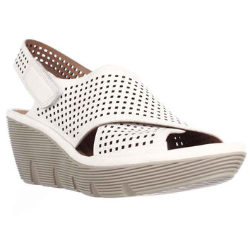 Clarks Clarene Award Perforated Wedge Sandals - White