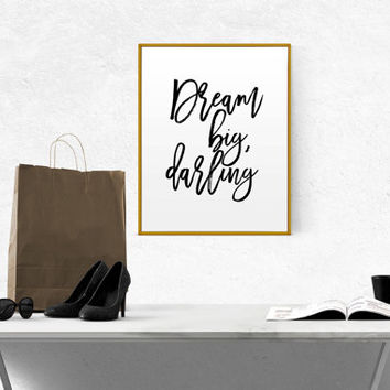 "Inspirational Art Print ""Dream Big Darling"" Modern Office Decor Motivational Poster Fashion Quote GIFT FOR HER Chic Girly Striped Typography"