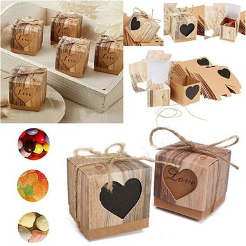 10Pcs/set Love Rustic Kraft Bark Candy Box Chic Vintage Wedding Favor Boxes Surprise Gifts Storage Box DIY Wedding Party Decorat