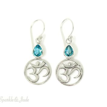 Sterling Silver Blue Topaz Pear Om Symbol Dangle Earrings