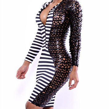 Black Synthetic Leather Striped Long Sleeve Bodycon Dress