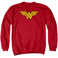 Wonder Woman Distressed Classic Logo Mens Crewneck Sweatshirt